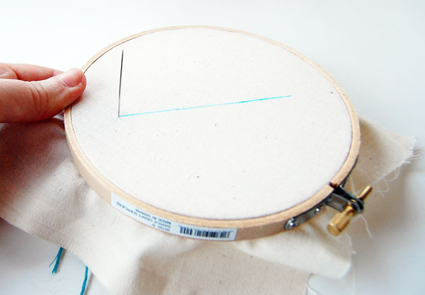 stitch up through your fabric at the beginning of your traced line