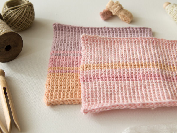 Finished Tunisian crochet wash cloths from a different angle
