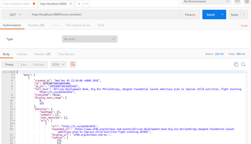 home_timeline endpoint in Postman