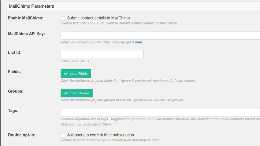 Integration options including MailChimp API key