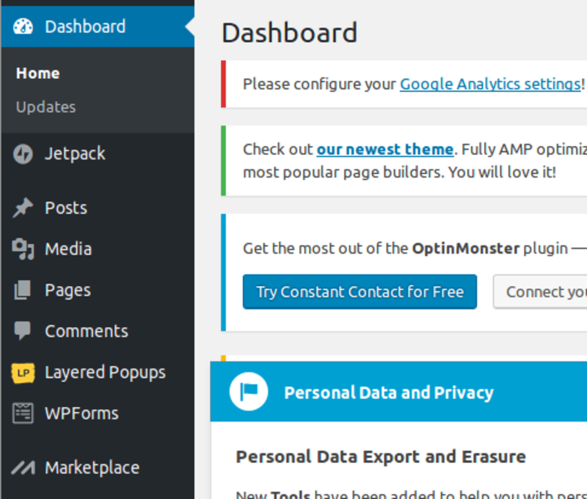 Layered Popups dashboard