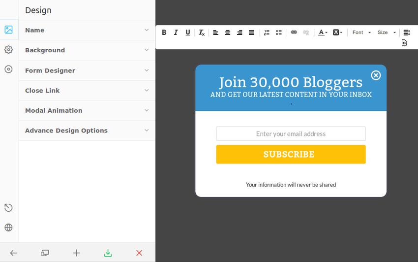 Live editor screen