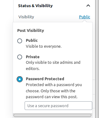 password protecting a post