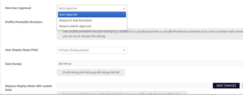 User approval settings