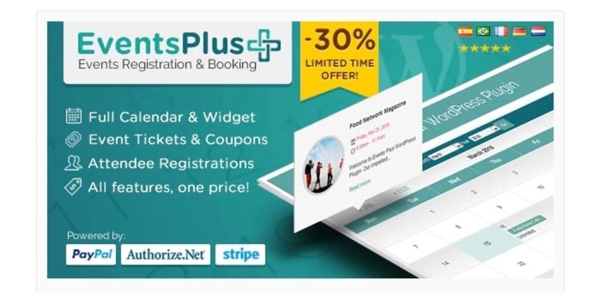 WordPress Events Calendar Registration and Booking