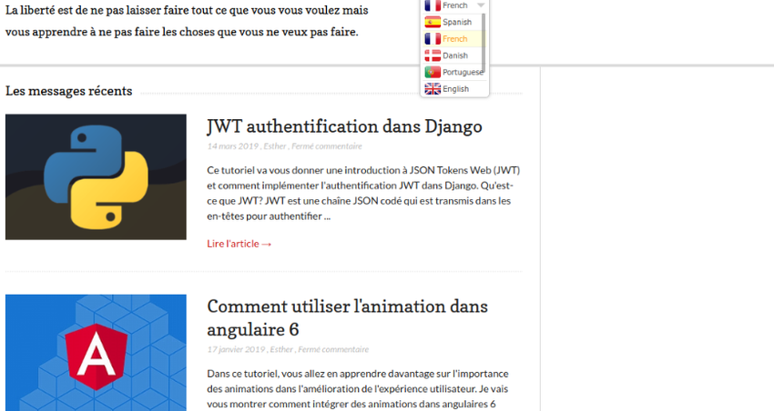 Example website translated into French