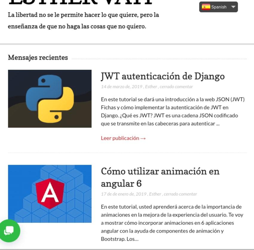 Website showing Spanish translation