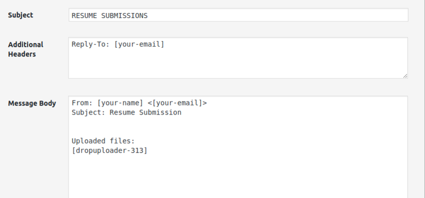 send mail settings