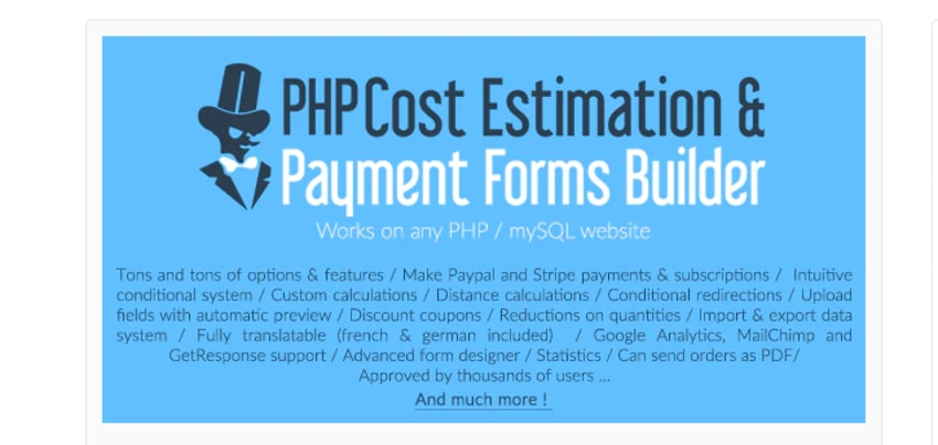 php cost estimation