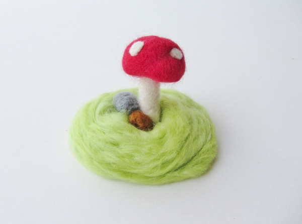 Finished felted wool terrarium