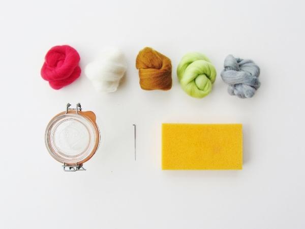 Felted wool terrarium supplies