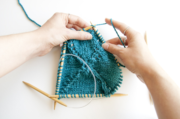 transfer the stitches to the circular needles