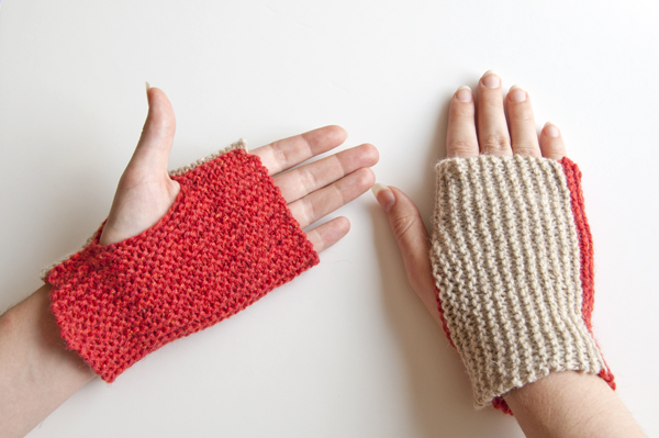 Finished two-colour mittens knitted using garter stitch