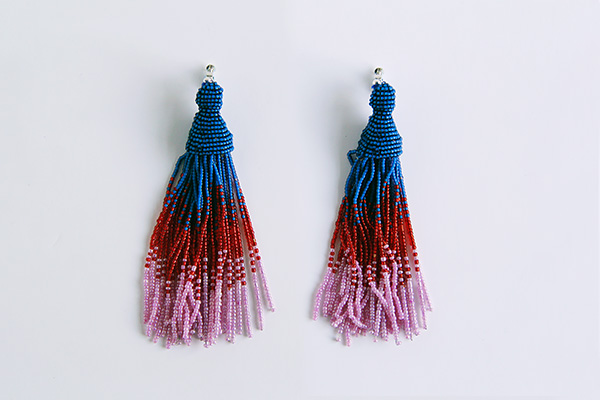 Two completed tassel earrings