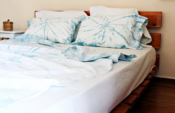 Finished shibori dyed bed linen