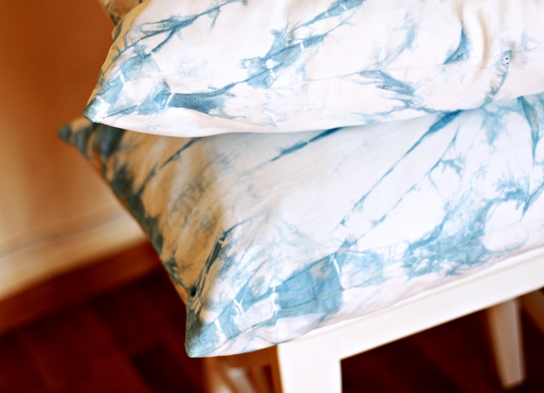 Shibori dyed pillow cases
