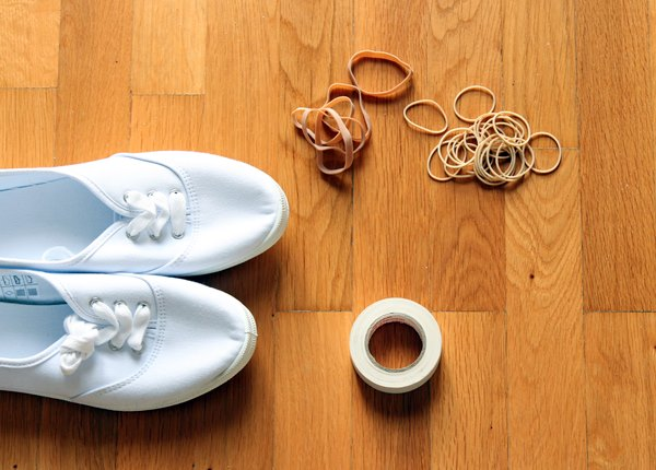 Shoes rubber bands tape