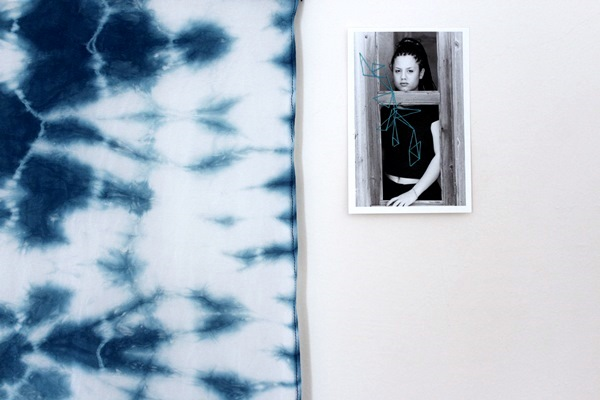 Shibori wall hanging in place on the wall