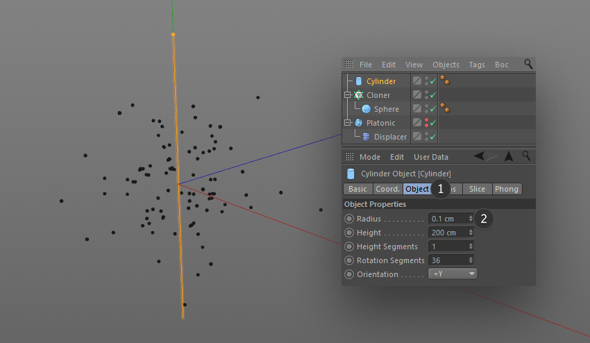 Editing the Cylinder parameters in the object options