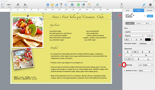 How to create a pages template my recipe template maxwellsz