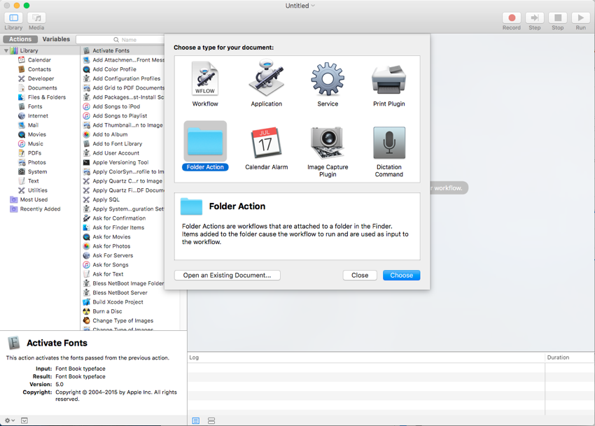 Create a new folder action document in Automator