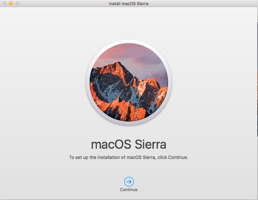 macOS Sierra installer window The only way to quit this app is through Dock