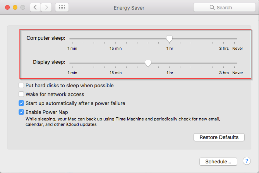 Energy saver pane of Mac Mini 2012