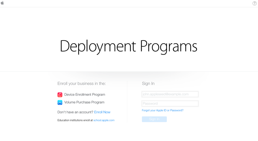 Sign up for Apple Deployment Program