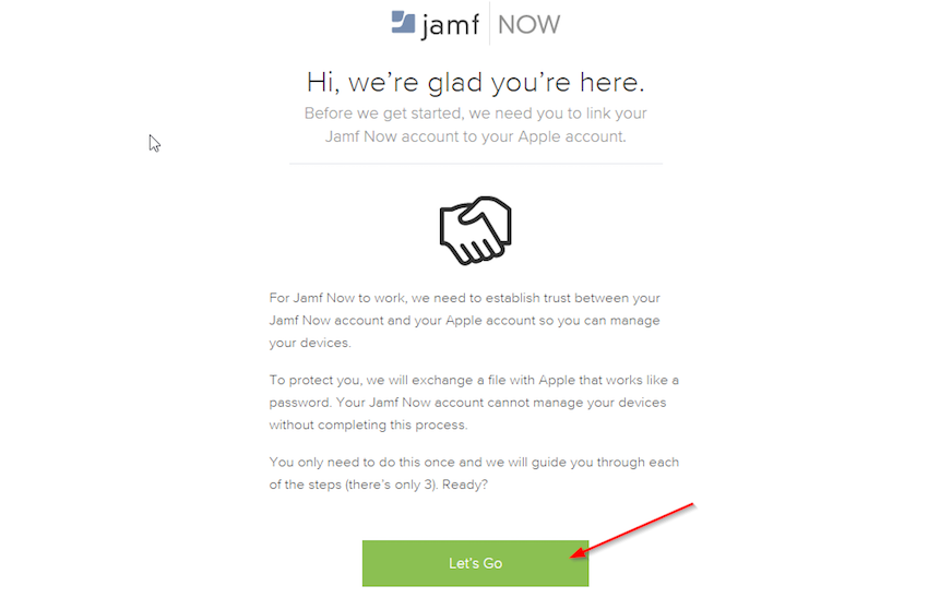 Landing Page to Setup Jamf Now account