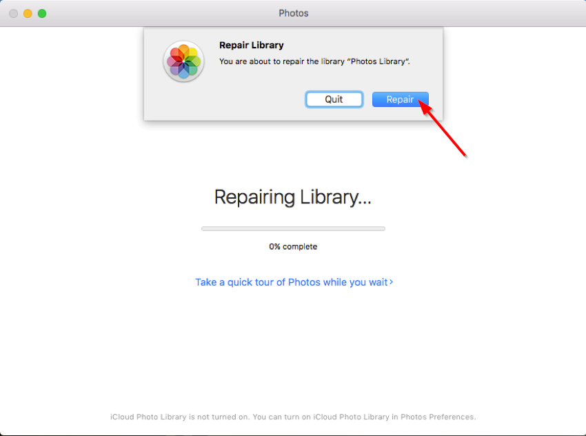 repair library of the Photos app