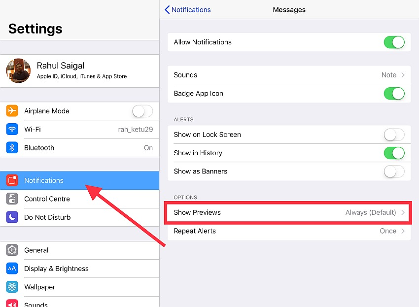 block sensitive app notifications