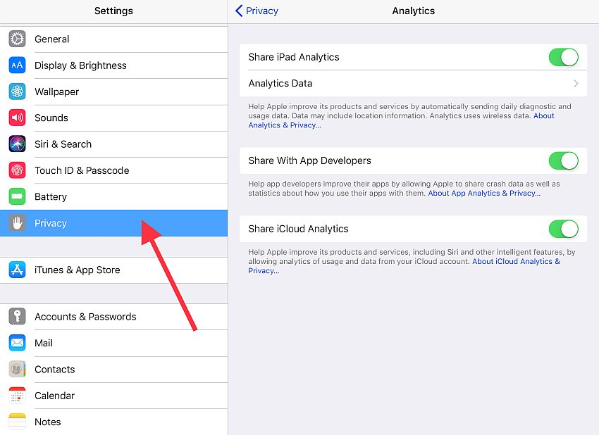 share analytics data with apple and developers