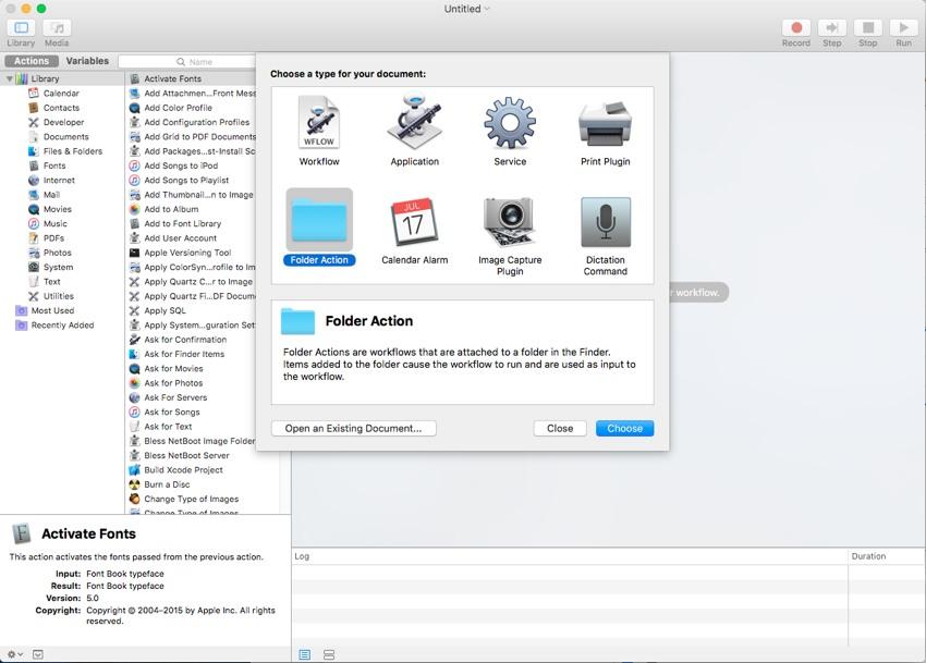 create folder action in automator