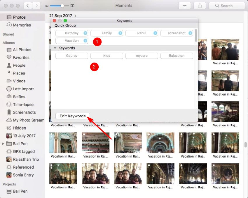 keyword manager for the photos app