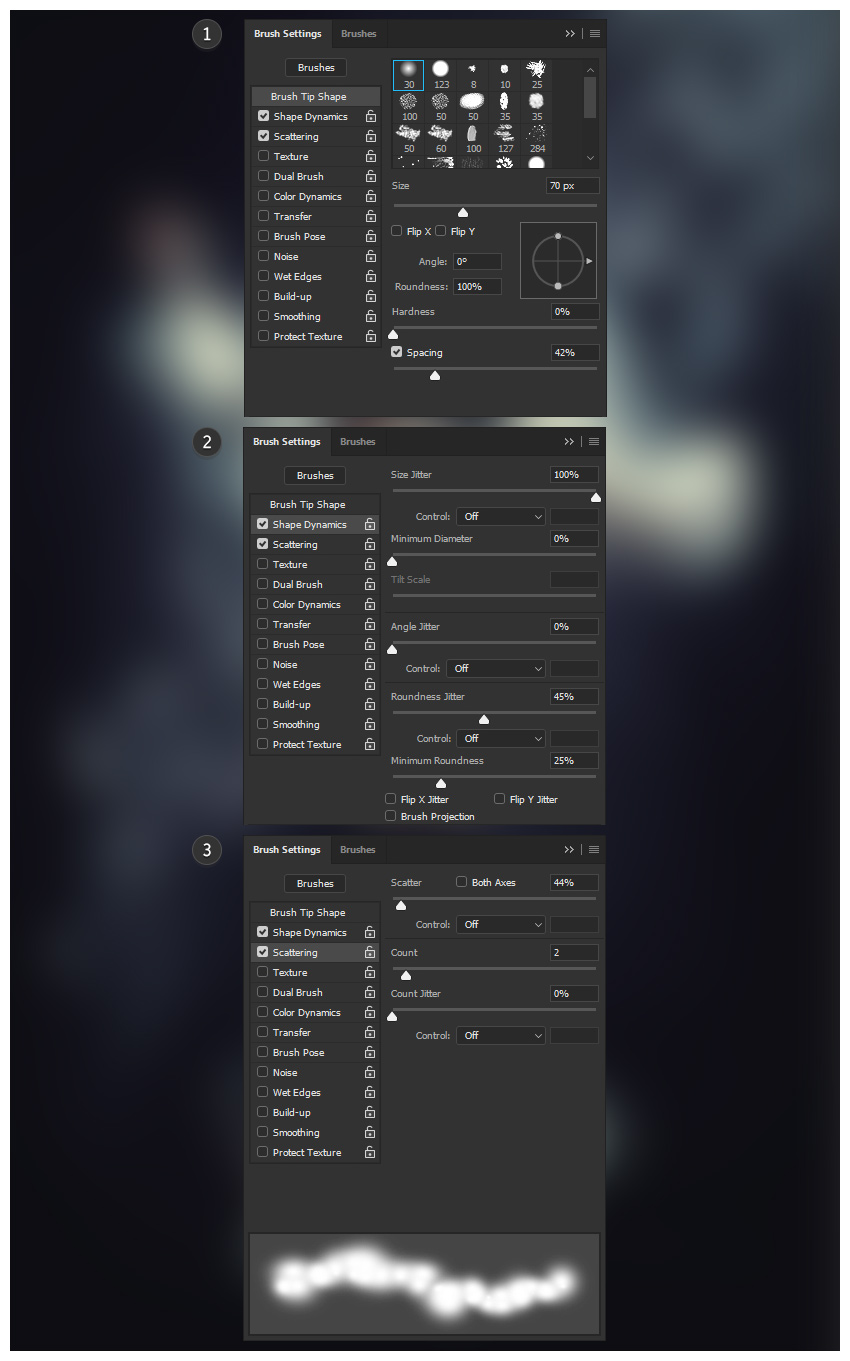 Fog brush settings