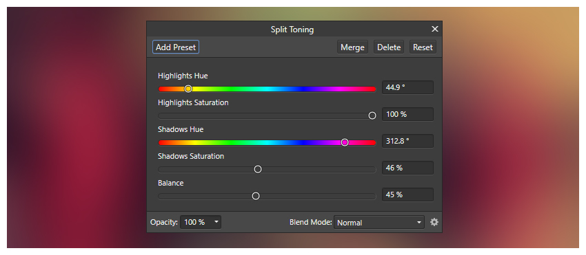 Split toning settings
