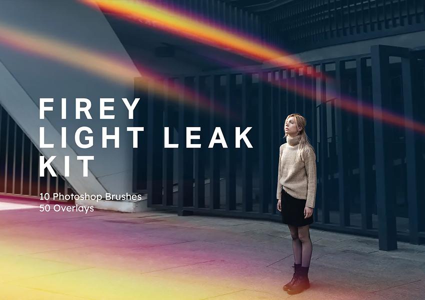 Firey Light Leak Kit - 10 Brushes  50 Overlays