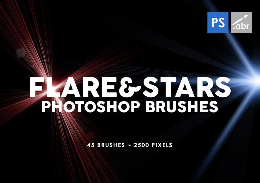 45 Lens Flare  Stars Photoshop Stamp Brushes