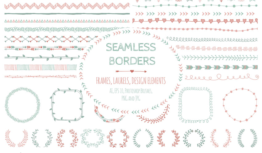Doodle Seamless Borders Elements