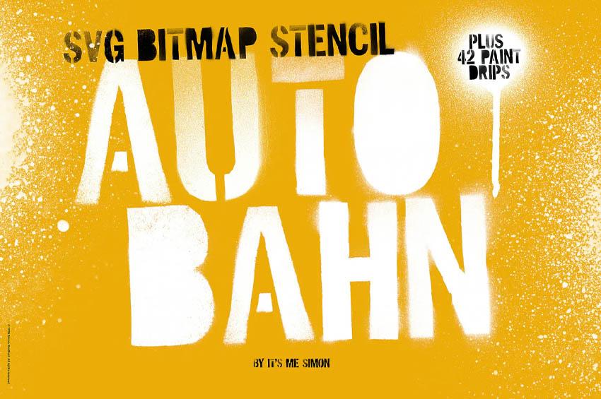 Stencil Autobahn SVG bitmap font