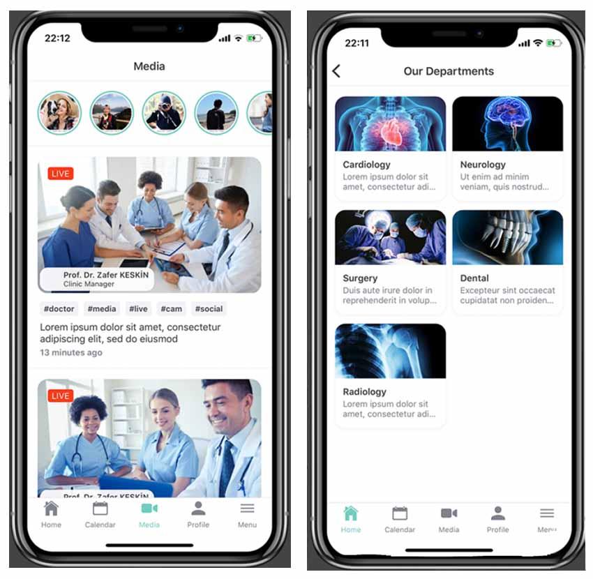 Medical Hospital Mobile React Native Home Screen Template