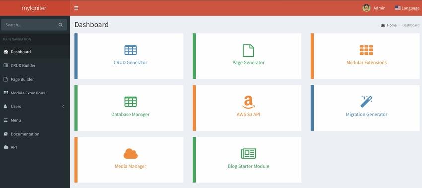 myIgniter - Admin CRUD and Page Generator