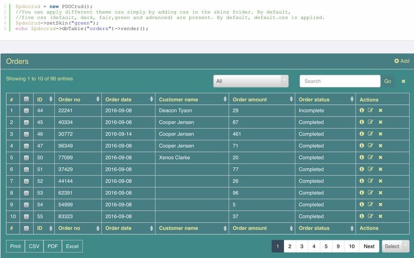 PDO CRUD - Advanced PHP CRUD Application Form Builder  Database Management