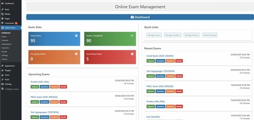 Online Exam Management for WordPress