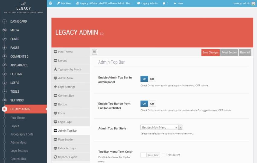 Legacy - White label admin theme