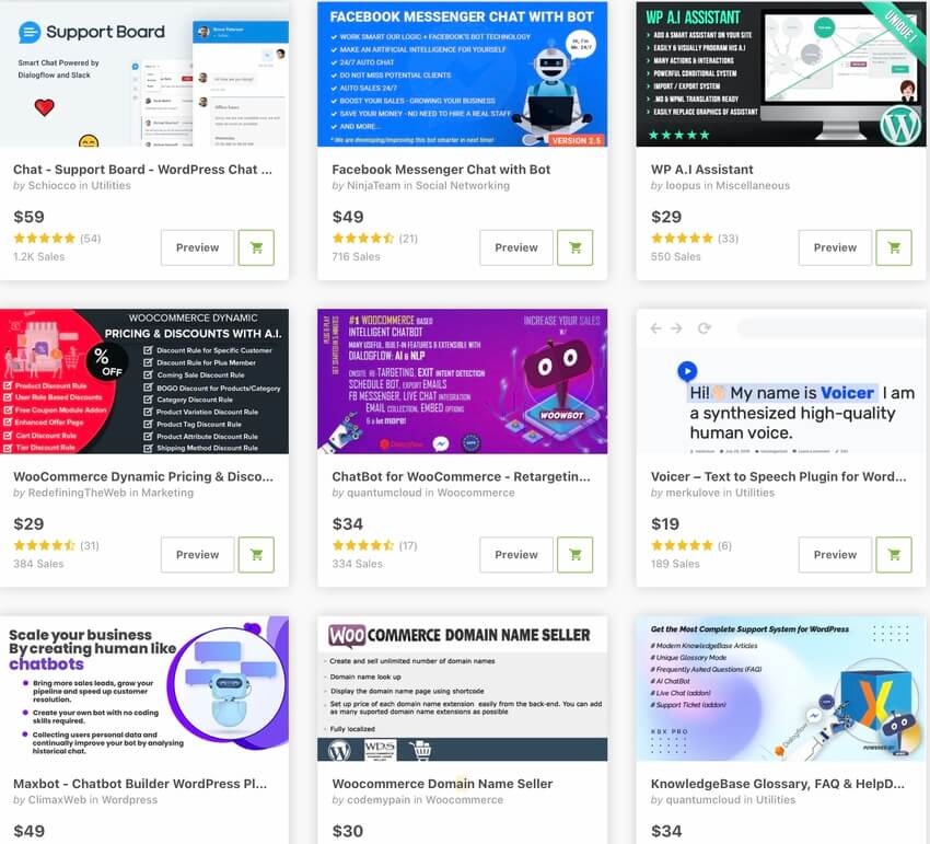 Bestselling AI powered plugins on CodeCanyon