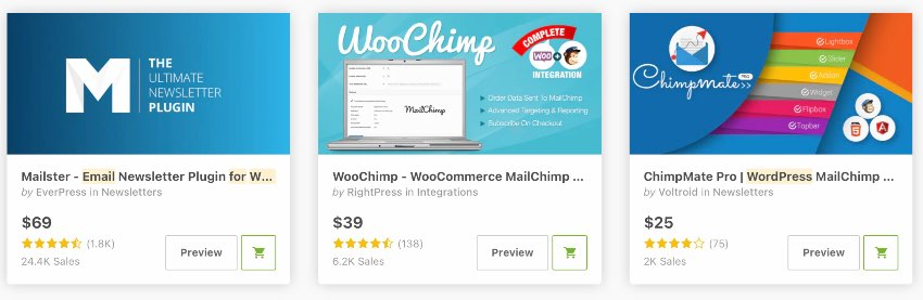 Topselling Email Newsletter plugins on WordPress