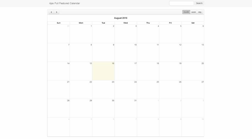 Ajax Full-featured Calendar