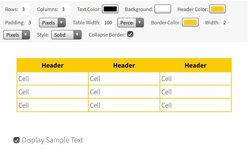 Quackit - HTML Table Generator