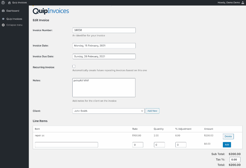 Quip Invoices - Fully Featured WordPress Invoicing